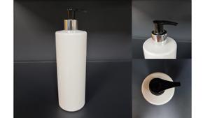 White Lotion Pump Bottle 500ml Cylinder Pet Plastic Silver Black Bathroom Soap