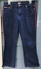 Tommy Hilfiger Women's Juniors Jeans Blue Red Stitched Stretch Med Rise Sz 13