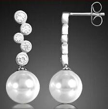 Perlen Ohrstecker 925 Sterling Silber Ohrringe Ohrhänger Zirkonia Weiß 26mm
