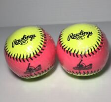 "Rawlings 10"" Training Softball Lot Protac Hot Pink & Yellow #Rfpt10Spy ""2 Count�"