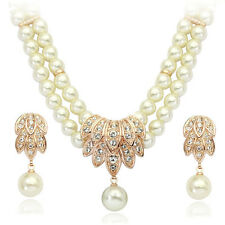 18K ROSE GOLD PLATED AUSTRIAN CRYSTAL & PEARL NECKLACE & DANGLE EARRING  SET