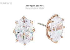Kate Spade Shine On Oval Studs Earrings  Rose Gold / Clear