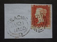 QV C1 plate R1, HF, 635 Reading Biscuit cancel, code D, 1855, small piece, vfu