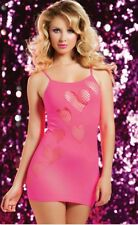 Pink Hearts Mini Dress One Size S/M/L/XL SEXY Fishnet Lingerie New Boxed STM9701