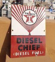 1930's Old Vintage Very Rare Texaco Oil Diesel Fuel Porcelain Enamel Sign Board