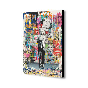 Love Is The Answer - Banksy Style - Canvas Wall Art Framed Print - Various Sizes