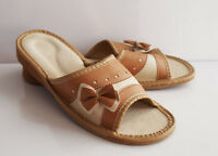 High Quality Leather Women Indoor Outdoor Shoes Slippers Slides Beige 4.5/37