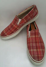 Sperry Top Sider Mens 13 M Striper Red Plaid Canvas Slip On Boat Shoes Casual