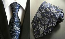 Tie Black Blue Silver Mens Flower Patterned Handmade 100% Silk Wedding Necktie