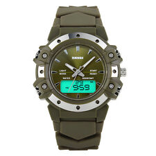 Mens Sport Quartz Analog Digital Wristwatch Military Alarm Waterproof Watch