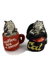 B Kliban Cat Applause Vintage 80s Stuffed Plush Cat In Top Hat & Coffee Mug