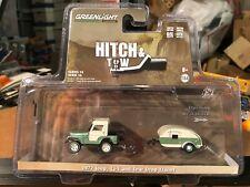 1/64 GREENLIGHT HITCH & TOW 1972 JEEP CJ5  & TEARDROP TRAILER GREEN