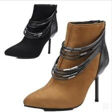 New Women's Stiletto High Heels Ankle Boots With Chains Pointed Toe Shoes Club