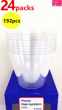 192pcs Clear Plastic Plain Tumblers Disposable Reusable Party Cups 22405 x24