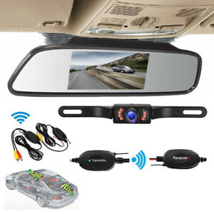 Wireless Car 5'' Mirror Monitor+Waterproof Rear View Backup Reverse Camera Kit