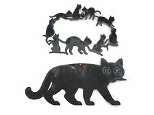 Pair Vintage Metal Hanging Black Cats One w Glass Marble Eyes Halloween RARE
