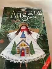Counted Cross Stitch Kit, Angel Christmas Ornament Kit 1443 Church