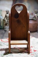 Handcrafted Wooden Doll Chair Solid Oak Wood High Back Heart Cut Out