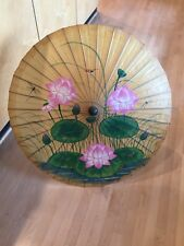 Vintage 1992 Handmade Parasol Asian Style Umbrella Handpainted Lily Pads