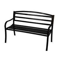 Astonica 50105231 Outdoor Simplicity Black Powder-Coated Steel Garden Bench