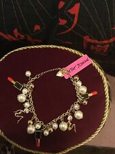 Large Betsey Johnson Red Lipstick Charm Bracelet