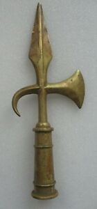 HALBERD FLAG POLE TOPPER SOLID BRASS FINIAL POLEAXE DECOR ARMY VINTAGE