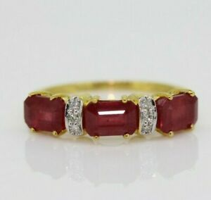 9ct Yellow Gold 1.50ct Ruby & Diamond Eternity Ring Size L 1/2, US 6