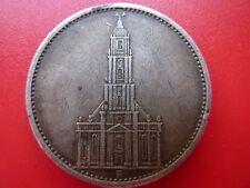 1935 Germany Swastika Potsdam 5 Mark  Beautifully Toned Higher Grade Silver Coin