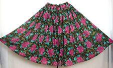 Vtg India Sheer Cotton Gauze Flower Floral Midi Skirt Hippie Boho Gypsy Peasant