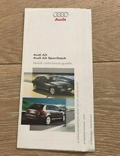 AUDI A3 8P 05-12 SPORTBACK QUICK REFERENCE GUIDE BROCHURE OWNERS MANUAL BOOKLET