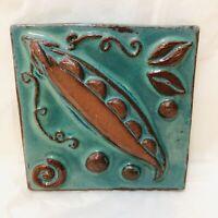 Vintage Handmade Eartha Pottery Tile Art Pea or Bean Signed Parran Collery