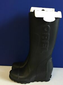 Sorel Women's Joan Rain Wedge Tall Boot Black Sea Salt Size 10