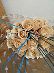 White Roses Bouquet Wooden Flowers Wood Artificial Valentine's Day With Blue