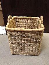 "Seagrass Hyacin Rattan Square Laundry Toys Storage Basket Bin Medium 13""tall"