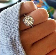 Halo Engagement Ring 14k Gold Plated 2.10Ct Off White Brilliant Vvs1 Moissanite