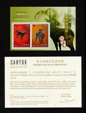 (YYAI 926) China Hong Kong 2003 MNH New Year Horse & Ram Gold certificate Zodiac
