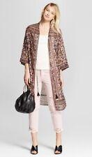 Xhilaration Duster Womens Floral Print Handkerchief Hem Kimono Cover Up Size Xl