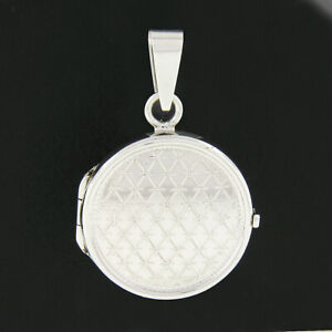 NEW 14k White Gold Engraved & Etched Grid Waffle Pattern Round Locket Pendant