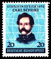 EBS Germany 1952 Carl Schurz Gedächtnisfeier Michel 155 MNH** cv $31.00