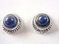 Small Lapis Lazuli 925 Sterling Silver Stud Earrings Round