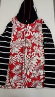 Susan Graver Weekend Printed French Terry Zip Front Hooded Jacket (Red, M)