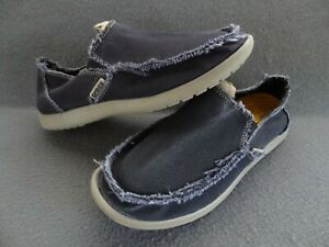 Crocs Men 8 Santa Cruz Navy Blue Canvas Slip-On Loafer Boardwalk Beach 10128