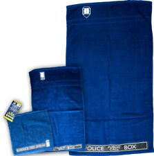 Doctor Who ~ Tardis 3-Piece Bath / Hand / Face Towel Set (The Robe Factory) #New