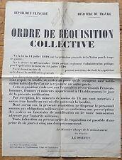 RARE AFFICHE VIERGE 1938-1940 ORDRE DE REQUISITION COLLECTIVE MINISTERE TRAVAIL