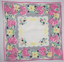 Hot pink tiger lilies  vintage handkerchief