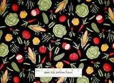 Farm Fresh Vegetables Food Kitchen Corn Pepper Radish Peas Cotton Fabric YARD