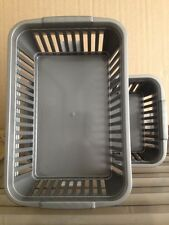 5 x NEW Grey Whitefurze Handy Basket Storage Filing Tool Box School Office 25cm