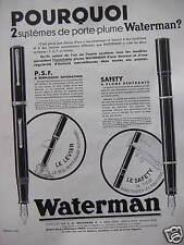 PUBLICITÉ WATERMAN 2 SYSTEMES DE PORTE PLUME P.S.F ET SAFETY
