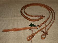 Western harness leather flat romel reins w/ties USA - custom cowboy tack H555