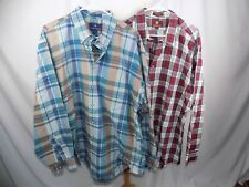 Lot of 2 Nordstrom Men's Button Front L/S Shirt XXL Green Red Aqua Tan Stripe